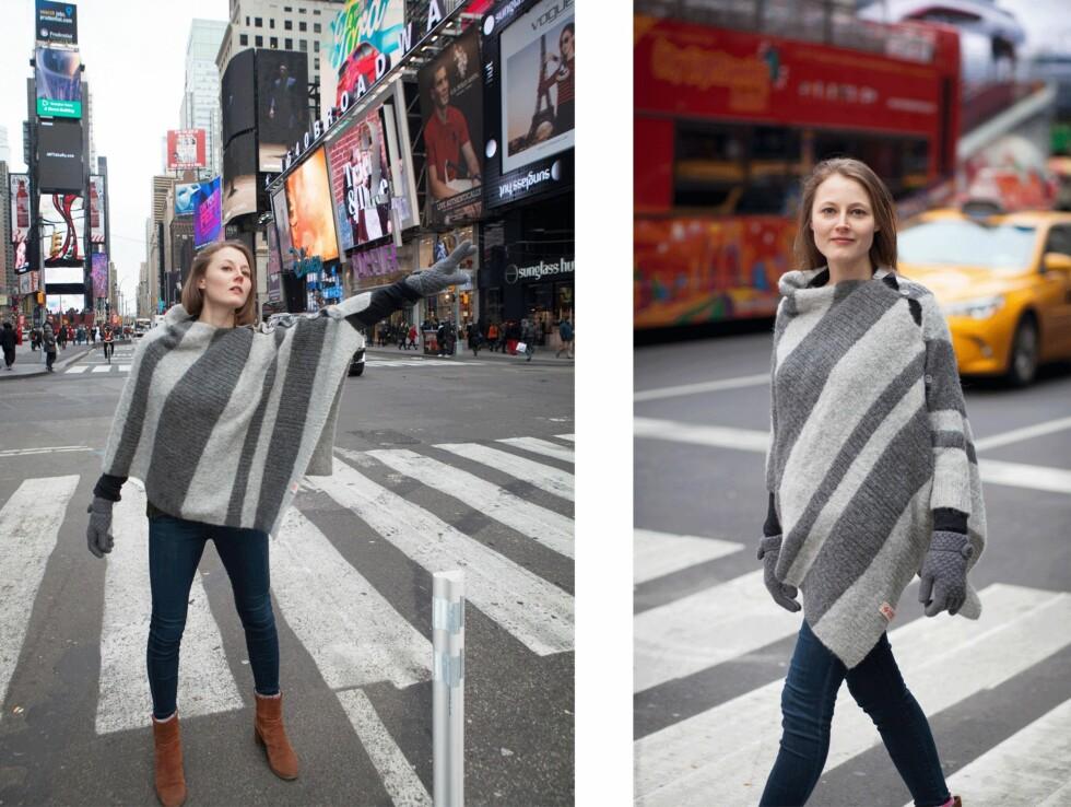 <strong>I NEW YORKS GATER:</strong> Skuespiller Hilde Skappel som bor og jobber i New York stilte opp for noen bilder i en strikket poncho fra A Knit Story. Foto: Petra Liebetanz