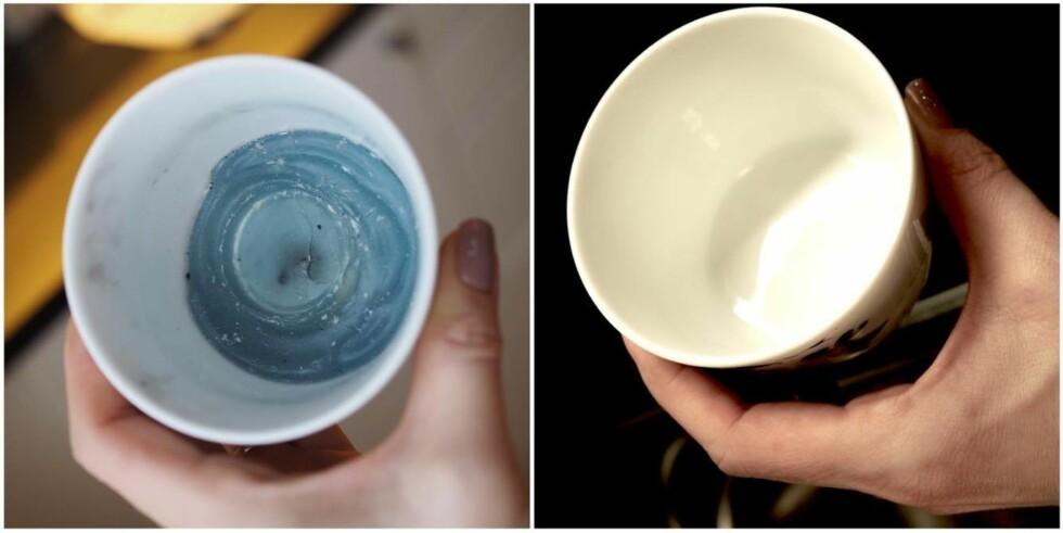 FØR OG ETTER: Sjekk den forskjellen! Neste gang vi skal fjerne stearinsøl skal vi absolutt benytte oss av dette trikset.  Foto: Marna Haugen Burøe