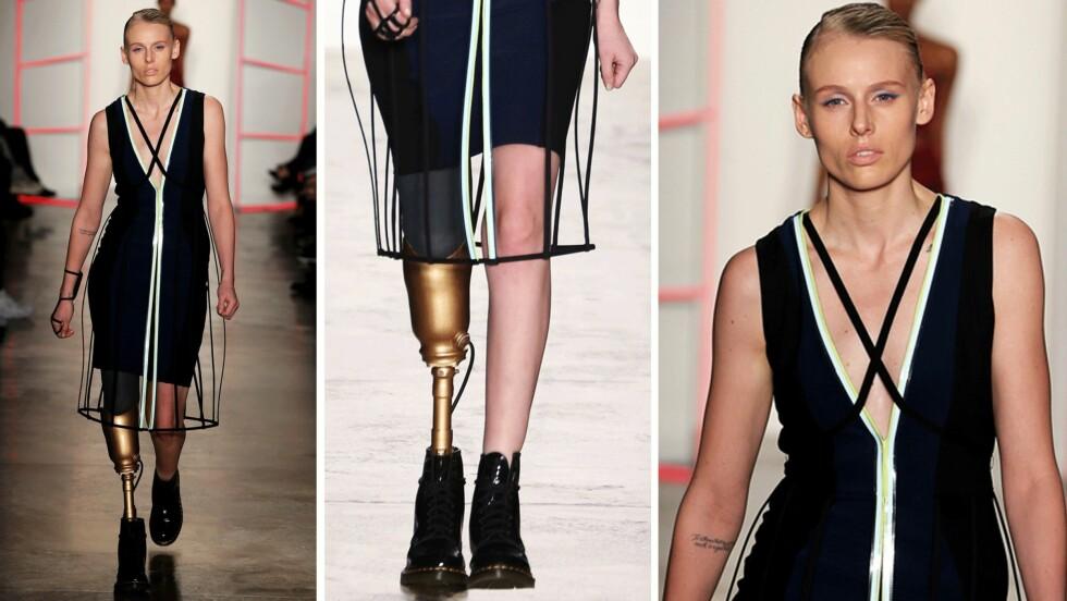 <strong>LAUREN WASSER:</strong> Den 28 år gamle modellen var tragisk uheldig da hun for tre år siden ble rammet av det svært sjeldne syndromet toksisk sjokksyndrom (TSS). Nå er hun tilbake på catwalken under New York Fashion Week! Foto: Scanpix
