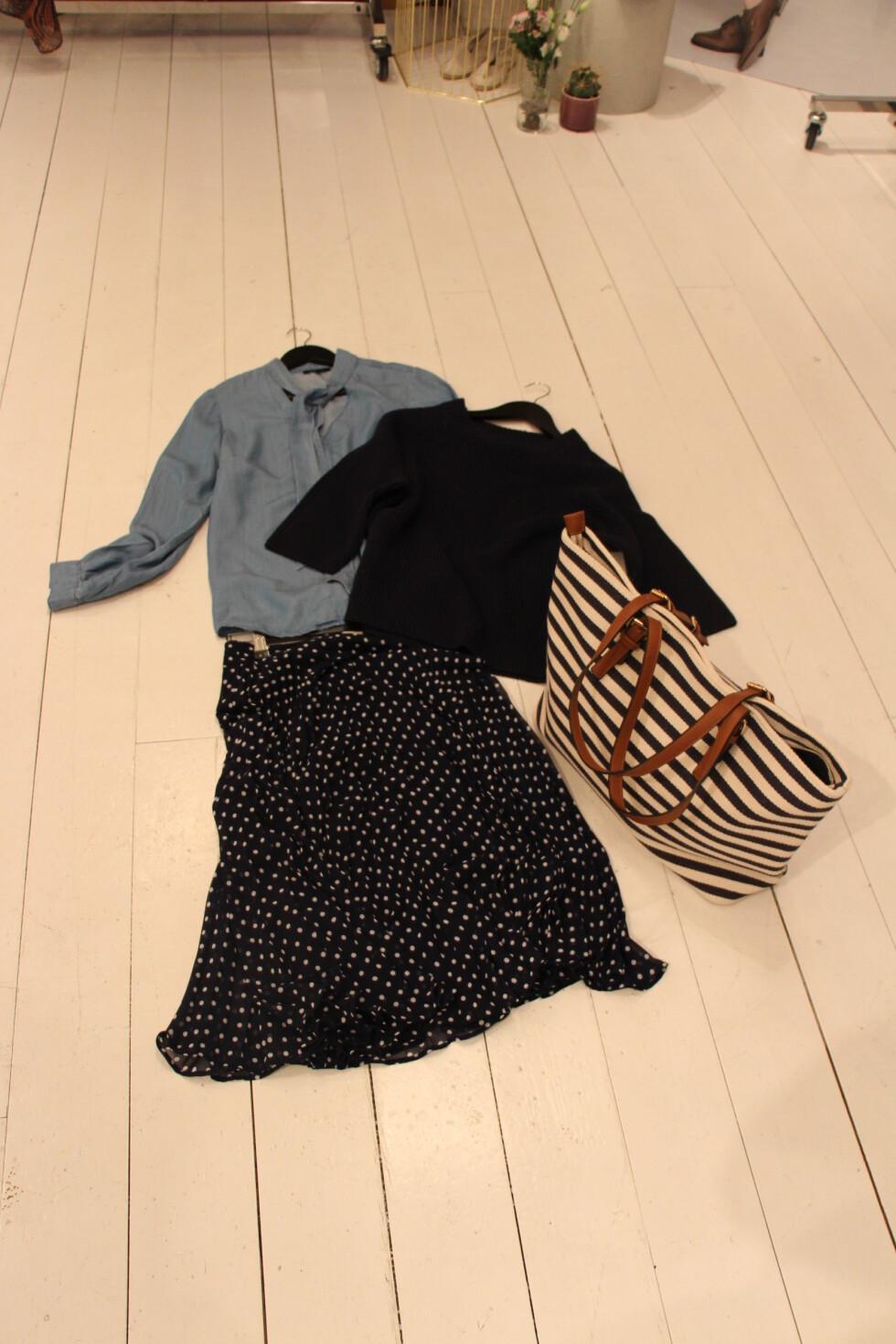 Kathrine Sørlands favorittlook 2: flagrende knelangt skjørt, denimskjorte, genser og strandveske.