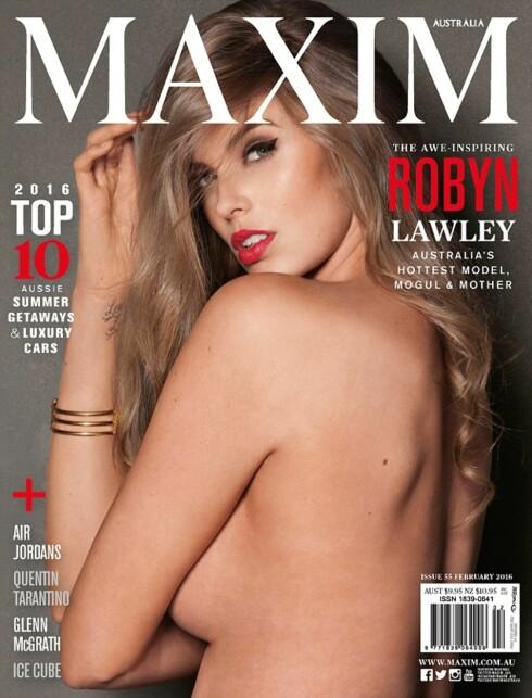 SMELLVAKKER: Robyn Lawley poserer uten en tråd på forsiden av mannebladet MAXIM – under et år etter at hun fødte. Foto: MAXIM / Faksimile