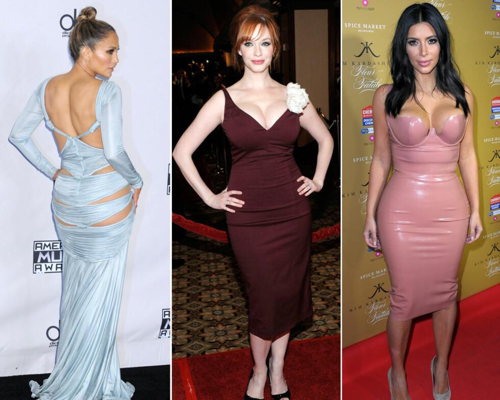 SMEKRE FORMER: Blant stjernene som er fornøyde med sine egne kropper Jennifer Lopez, Christina Hendricks og Kim Kardashian. Foto: Scanpix