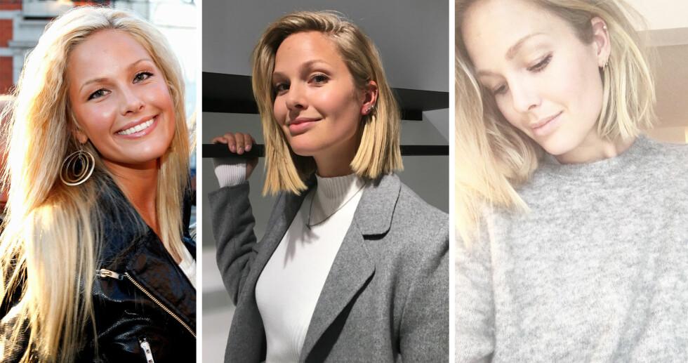 FØR OG NÅ: Maria Skappel Holzweiler har latt sine lange, blonde lokker falle til fordel for en trendy og fresh lob. Bildet til venstre er tatt i 2007, det i midten er fra Costume Awards i midten av januar og det til høyre la hun ut på sosiale medier i forrige uke. Foto: Privat