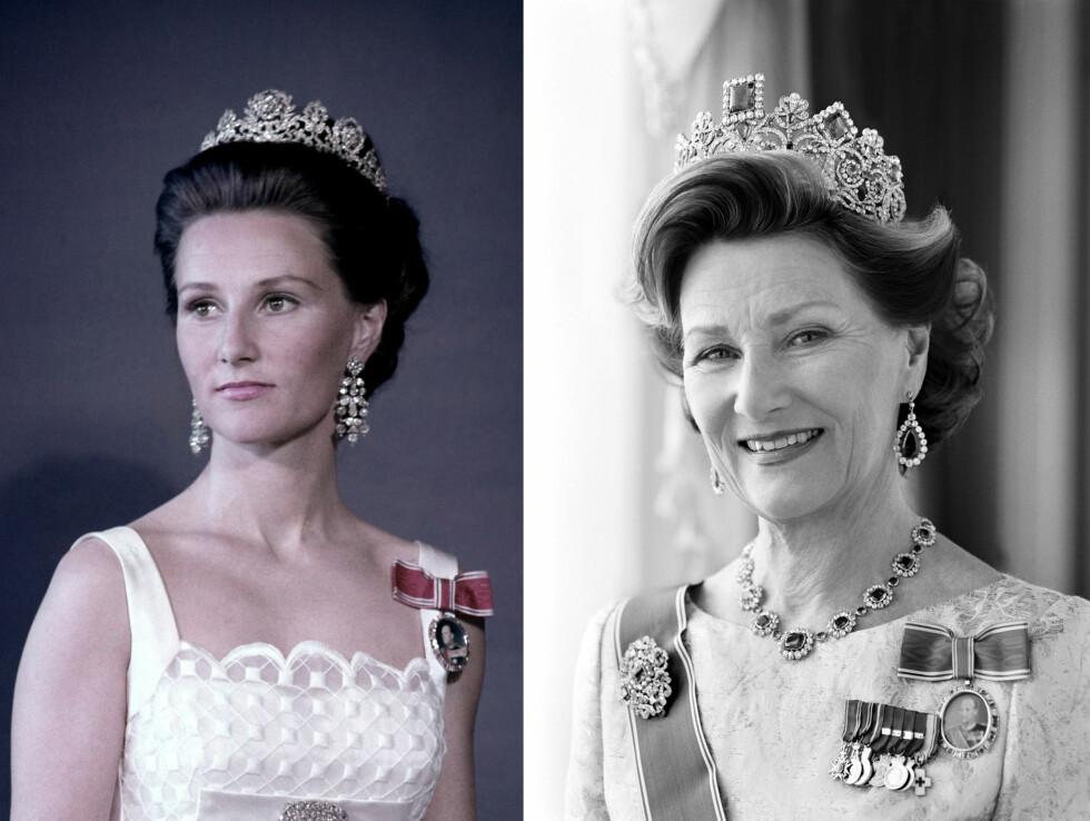 DRONNING SONJA: I 25 år har Sonja vært Norges dronning - og hun har gjennomført oppgaven hun i 1991 trådde inn i som 53-åring, med en varme og hengivenhet som er blitt satt pris på av hele det norske folk. Bildet til venstre er tatt i 1970, mens bildet til høyre er tatt i 2010. Legg merke til hvor lik prinsesse Ingrid Alexandra (11) er bestemor Sonja! Foto: NTB Scanpix og Cathrine Wessel for Det Kongelige Hoff