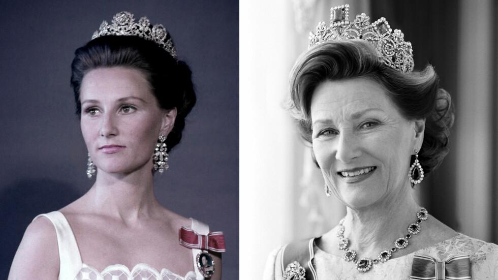 DRONNING SONJA: Sonja vært Norges dronning i 27 år - og hun har gjennomført oppgaven hun i 1991 trådde inn i som 53-åring, med en varme og hengivenhet som er blitt satt pris på av hele det norske folk. Bildet til venstre er tatt i 1970, mens bildet til høyre er tatt i 2010. Legg merke til hvor lik prinsesse Ingrid Alexandra er bestemor Sonja! FOTO: NTB Scanpix og Cathrine Wessel for Det Kongelige Hoff
