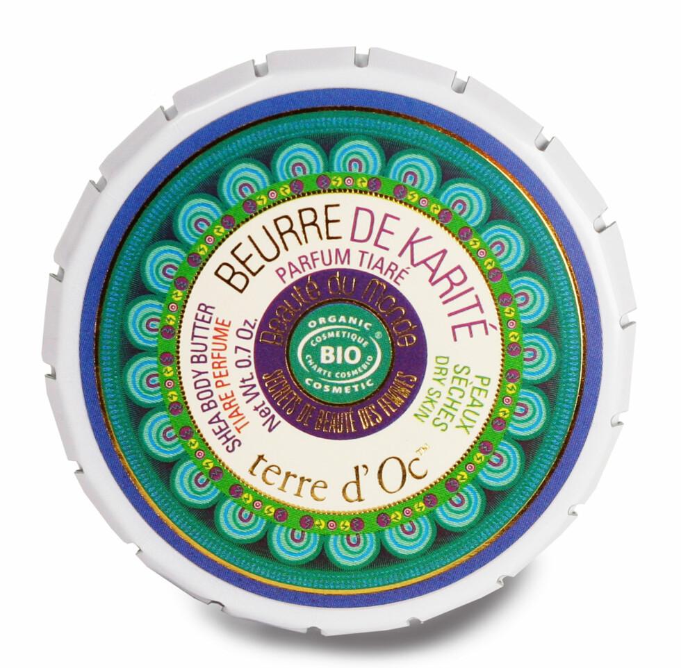 MULTI: Økologisk sheasmør i nydelig boks! Brukes til alle tørre partier som lepper, albuer, legger og neglebånd - for eksempel (kr 100, Terre d'Oc, Beurre de Karité). Foto: Produsenten