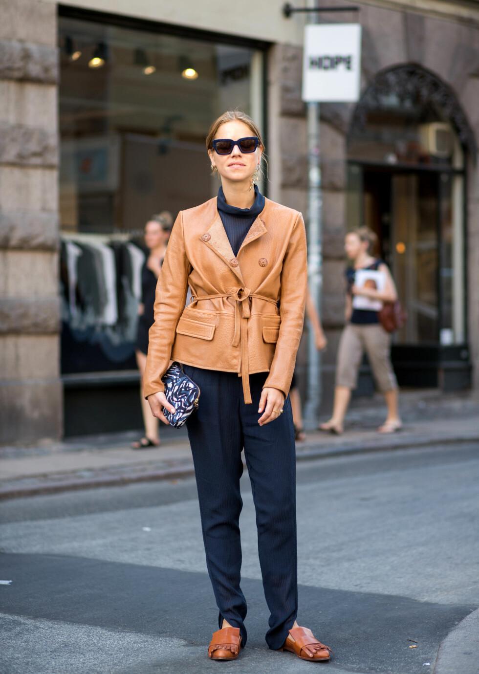 MATCHER: Under København Fashion Week matchet Trine Kjær overdelen med buksen og jakken med skoene! Så fresht! Foto: wenn.com