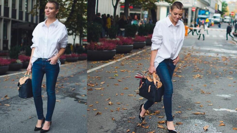 MARIE MURSTAD: Marie tyr til en crispy, oversized og hvit skjorte når kleskrisen herjer. Hun kombinerer den med jeans som sitter som et skudd! Foto: Outandaboutmarie.com