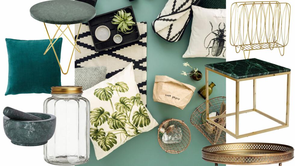 MAKSIMALISTISK TILBEHØR: Det er fint å mixe overdådige pyntegjenstander i et ellers minimalistisk hjem. Vi viser deg hva vi ønsker oss nå! Foto: H&M og Produsentene