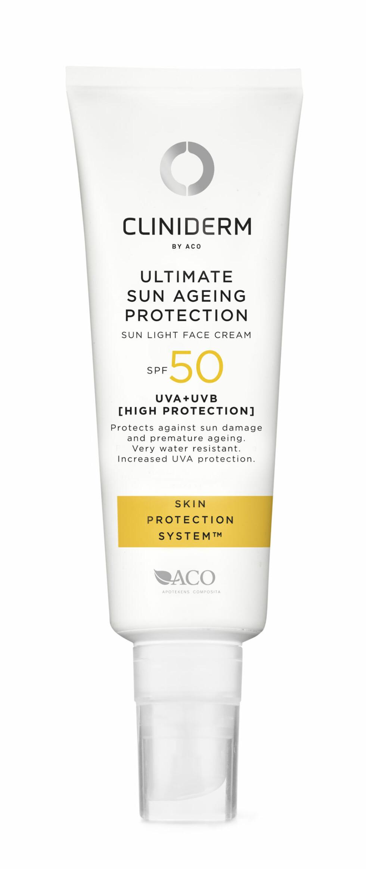 Ultimate Sun Ageing Protection fra Cliniderm, SPF 50, kr 195. Foto: Produsenten