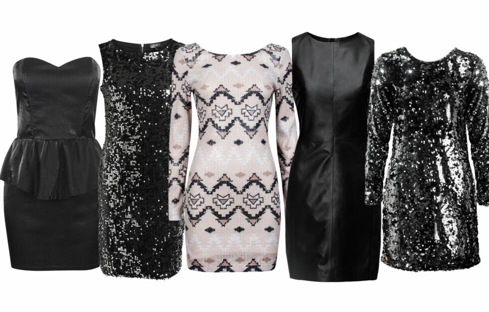 ÅRETS JULEKJOLER: Bik Bok, KappAhl, Cubus, H&M og Gina Tricot har valgt ut én kjole de har ekstra tro på til årest julebord. Her er dommen! Foto: Produsentene