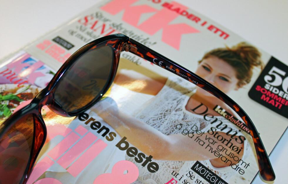 BILLIGE SOLBRILLER ER BRA - MEN SØRG FOR AT DE ER CE-MERKET: Du trenger slettes ikke å tømme lommeboken på et par solbriller i sommer. Så lenge de har et lite kjekt CE-merke på stanga, som her på undertegnedes Bik Bok-modell til 80 kroner, er det greit. Foto: Cecilie Leganger