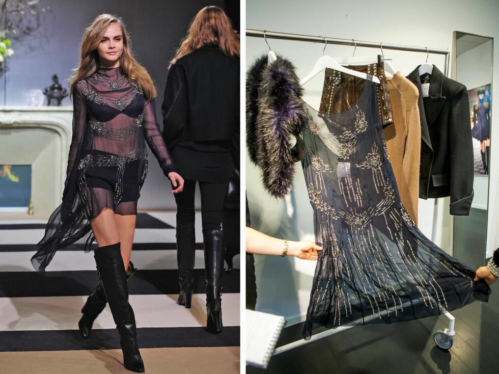 SOM PÅ CATWALKEN: Her ser du supermodell Cara Delevingne i kjolen som KK.no fikk ta en titt på i forrige uke. Også denne kommer for salg i september.  Foto: All Over Press/Per Ervland