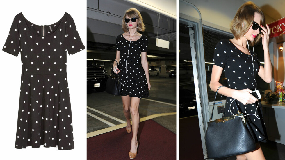 TAYLOR SWIFT I H&M: Stjernen valgte en prikkete kjole til 150 kroner på shoppingturen i Hollywood. Foto: All Over Press og produsenten
