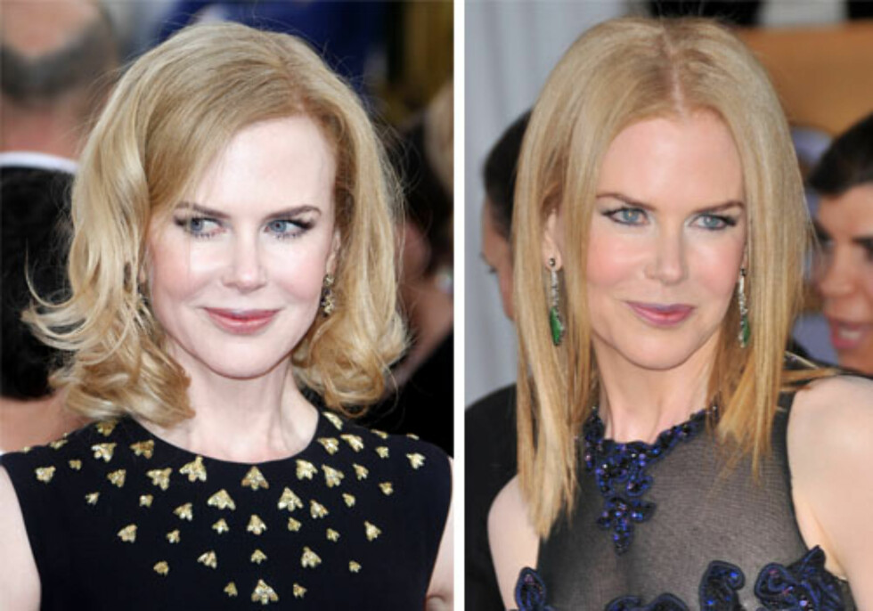 ELDRE/YNGRE: Det blir litt for tantete med så mye volum på toppen og de subtile krøllene i hårtuppene, og Nicole Kidman ser kjapt yngre ut når hun lar lengdene være glattere ogmer sofistikerte.  Foto: All Over Press