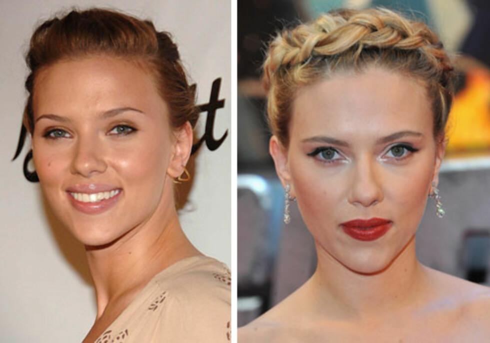 ELDRE/YNGRE: Det er fire år mellom bildene av Scarlett Johansson, og det eldste bildet er det til venstre. Ingen tvil om at de fire årene har gjort at hun ser ti år yngre ut, og det kan hun takk frisyren for.   Foto: All Over Press