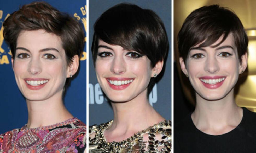 ELDRE/ELDRE/YNGRE: De geometriske linjene og det tunge preget gjør at Anne Hathaway ser eldre ut. Med en gang hun styler håret mykere, ser hun også yngre ut.  Foto: All Over Press