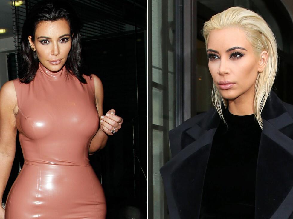FRA MØRK TIL LYS: Kims nye hårfarge har vekket oppsikt i Paris, der hun er med ektemannen Kanye for å følge moteuken.  Foto: All Over Press