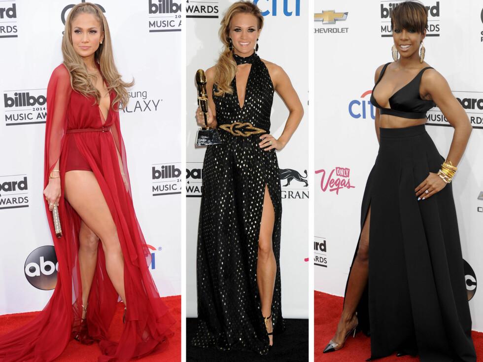 HØY SPLITT: Popstjerne Jennifer Lopez i rød kjole med supersexy splitt som gir henne en illusjon om ekstra lange bein, countrystjerne Carrie Underwood i en glitrende variant mens Kelly Rowland nøyde seg med en bh og langt skjørt. Foto: All Over Press