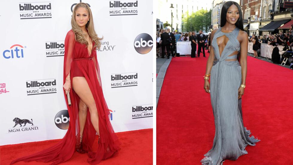 VISTE MYE HUD: Kjoler med høye splitter og dype utringninger er trendy som aldri før - popstjernen Jennifer Lopez gikk for et lårkort rødt nummer og body, mens supermodell Naomi Campbell tok pusten fra de fleste i en silkegrå kreasjon.