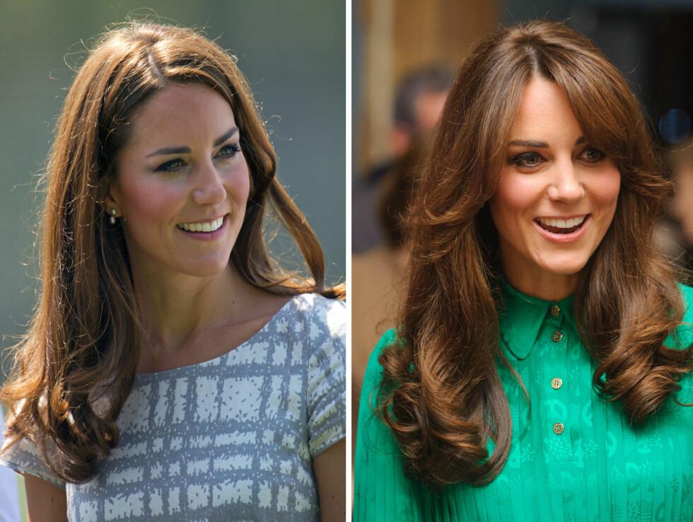 FØR OG NÅ: Slik så håret til Kate ut før den nye stilforvandlingen. Nå er det mer oppklippet, glansfullt og en svakt mørkere tone.  Foto: All Over Press