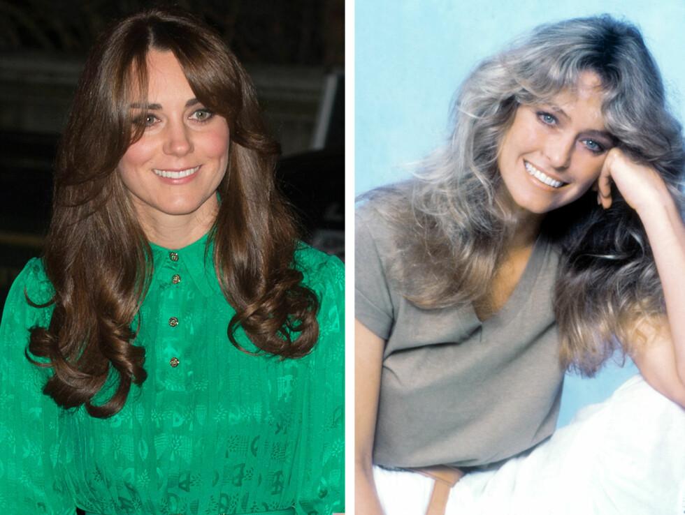 INSPIRERT AV 70-TALLET?: Kate frisyre ligner mistenkelig på den Hollywood-stjerne Farrah Fawcett (til høyre) ble så kjent for på 70-tallet.  Foto: All Over Press
