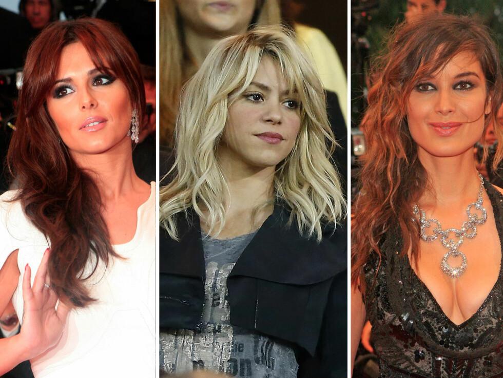 POPULÆRT: Den lange luggen er populær blant kjendisene. Her ser du - fra venstre, Cheryl Cole, Shakira og Bernice Marlohe. Foto: All Over Press