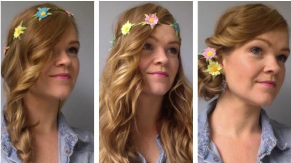 LETT Å VARIERE: Årets store hårpynttrend er superenkel å variere, enten du vil ha håret løst, delvis oppsatt eller helt oppsatt. Lær fem ulike måter å bruke hårbåndet på i denne saken. Foto: Aina Kristiansen