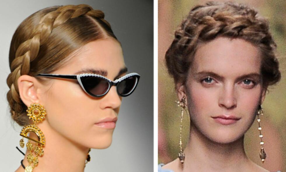 FLETTEDILLA: Du kan naturligvis også flette inn alt håret i den samme fletta og bruke den som et slags hårbånd, som her hos Moschino og Valentino. Foto: All Over Press
