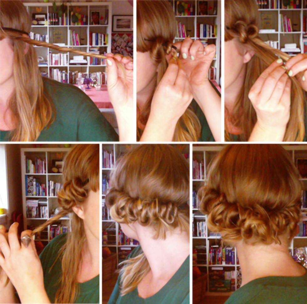 STEG FOR STEG: Slik ruller du opp håret. Sørg for at det er litt fuktig.  Foto: Aina Kristiansen