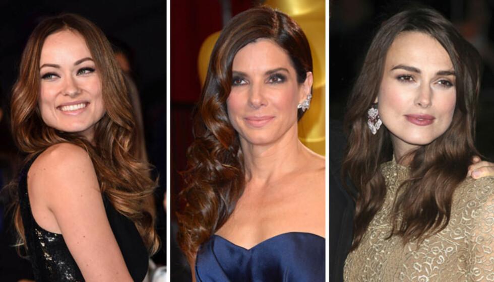 <strong>FIRKANTET FJES:</strong> Olivia Wilde, Sandra Bullock og Keira Knightley. Foto: All Over Press