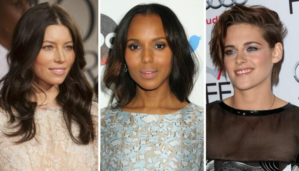 <strong>OVALT FJES:</strong> Jessica Biel, Kerry Washington og Kristen Stewart. Foto: All Over Press