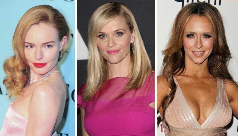 <strong>HJERTEFORMET FJES:</strong> Kate Bosworth, Reese Witherspoon og Jennifer Love Hewitt. Foto: All Over Press