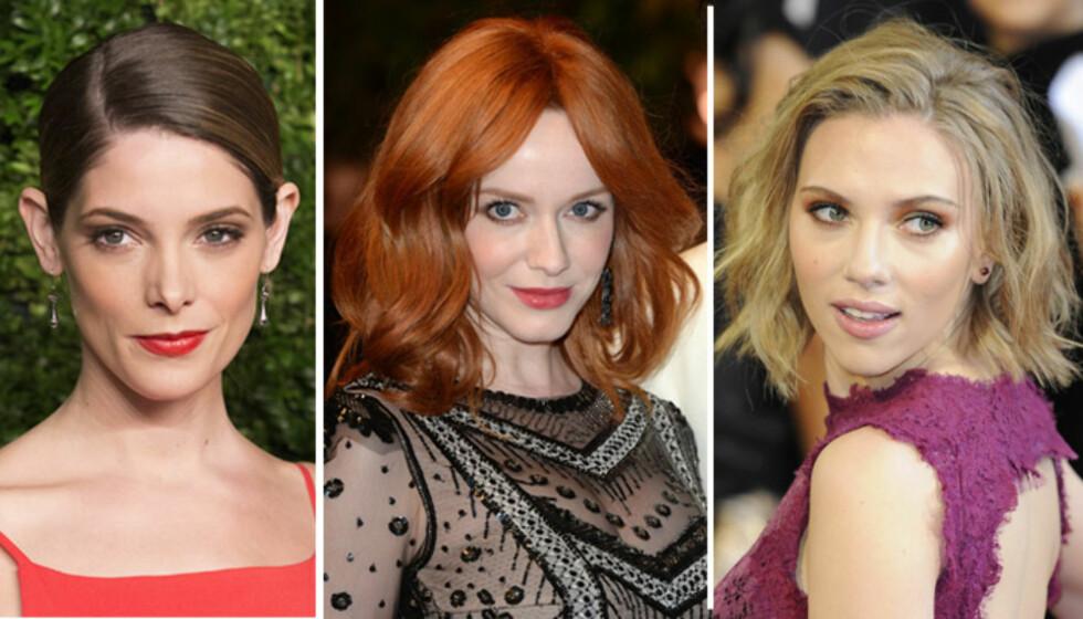 <strong>DIAMANTFORMET FJES:</strong> Ashley Greene, Christina Hendricks og Scarlett Johanssen. Foto: All Over Press