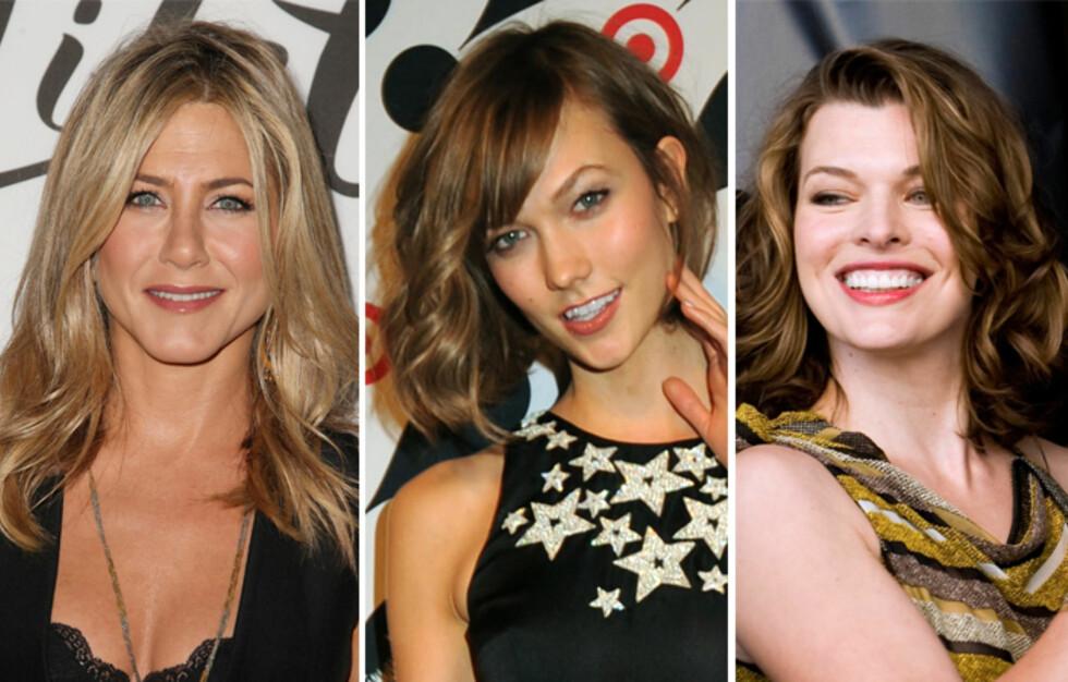 SKULDERLANGT: Jennifer Aniston (f.v.), Karlie Kloss og Mila Jovovich. Foto: All Over Press