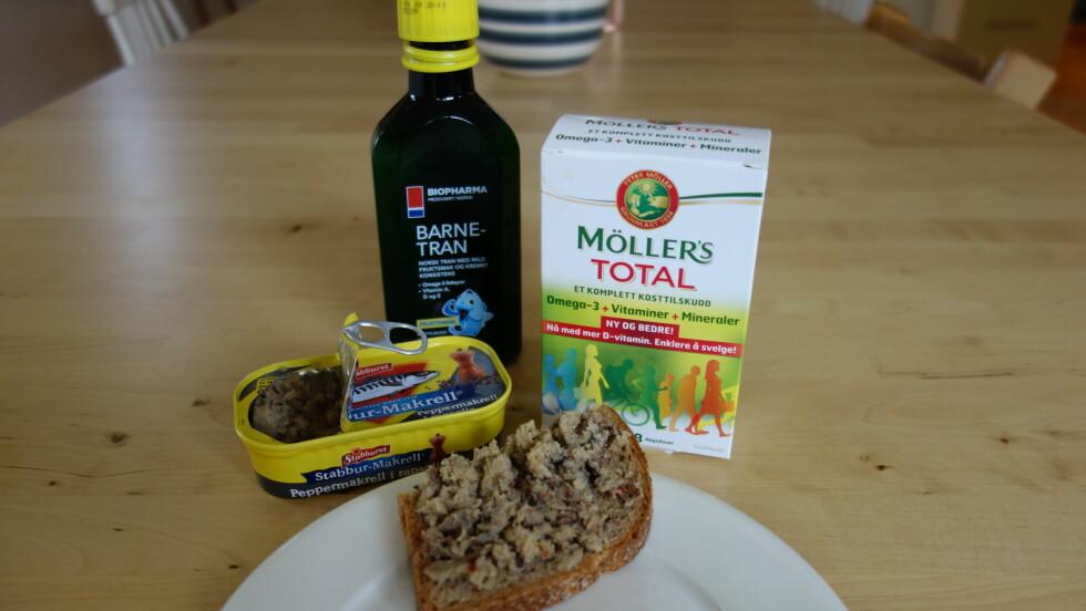 KAN FISKEPÅELGG PÅ SKIVA ERSTATTE SKJEEN MED TRAN?: Få tipsene til Lise von Krogh, som er ernæringsfysiolog og en av ekspertene på Bramat.no, om hva du kan spise for å få i deg de viktige omega-3-fettsyrene og D-vitaminene hver dag (men i prinsippet anbefaler hun oss å ta tran, altså). Foto: Cecilie Leganger