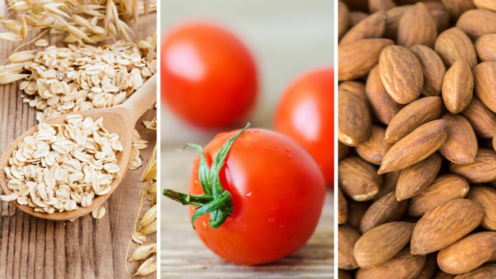VIKTIGE MATVARER: Havregryn, røde tomater og mandler er tre matvarer som bør inngå i det daglige kostholdet ditt.  Foto: Fotolia