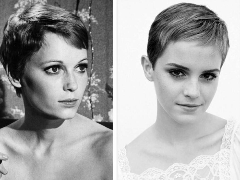 KLASSISK: Emma Watson lot seg inspirere av den klassiske frisyren til Mia Farrow da hun plutselig gikk for kort hår for et par år siden. Foto: All Over Press