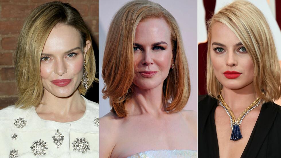 KLIPPER SEG KORT - BOB: - På et eller annet tidspunkt ønsker mange litt forandring, og å klippe håret litt kortere er kledelig for de aller fleste. Helheten rundt ansiktet blir lettere, og for mange virker det foryngende, sier KKs skjønnhetsekspert Tone Skipa. Her ser vi Kate Bosworth, Nicole Kidman og Margot Robbie - med hver sin lange bob. Foto: All Over Press