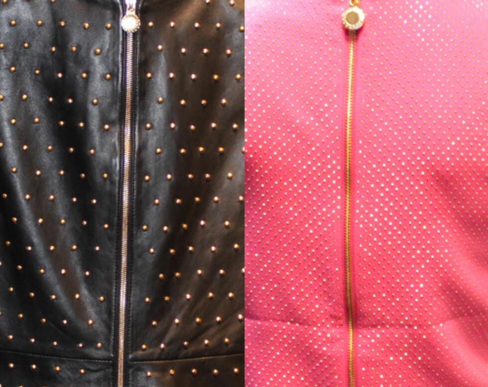 RYGGDEKOR: Skinnkjolen og den rosa minikjolen er også dekket med nagler bak. Foto: Cecilie Leganger