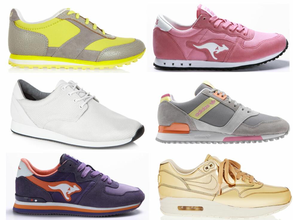 <strong>VÅRENS LEKRE JOGGESKO:</strong> Dersom du vil følge trendene, går du for et par sporty joggiser i deilige lyse farger. Øverst til venstre i gult og grått (cirka kr 1600, Marc Jacobs/Netaporter.com), i sukkertøyrosa (kr 900, Kangaroos), i hvitt (kr 700, Kasai), i grått og pastell (kr 900, Adidas), i lilla (kr 900, Kangaroos) og gylne (cirka kr 2640, Nike/Netaporter.com). Foto: Produsenter