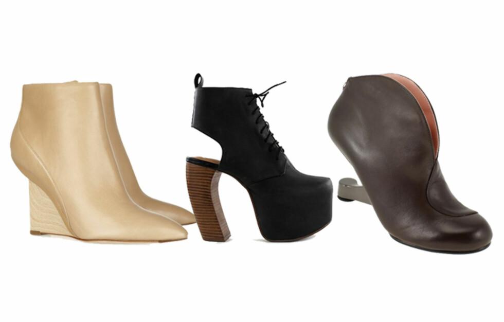 SPESIHÆL: Føttene får garantert oppmerksomhet i hæler uten om det vanlige. Få mer info om priser og se flere sko i bildeviseren under. Foto: Produsentene