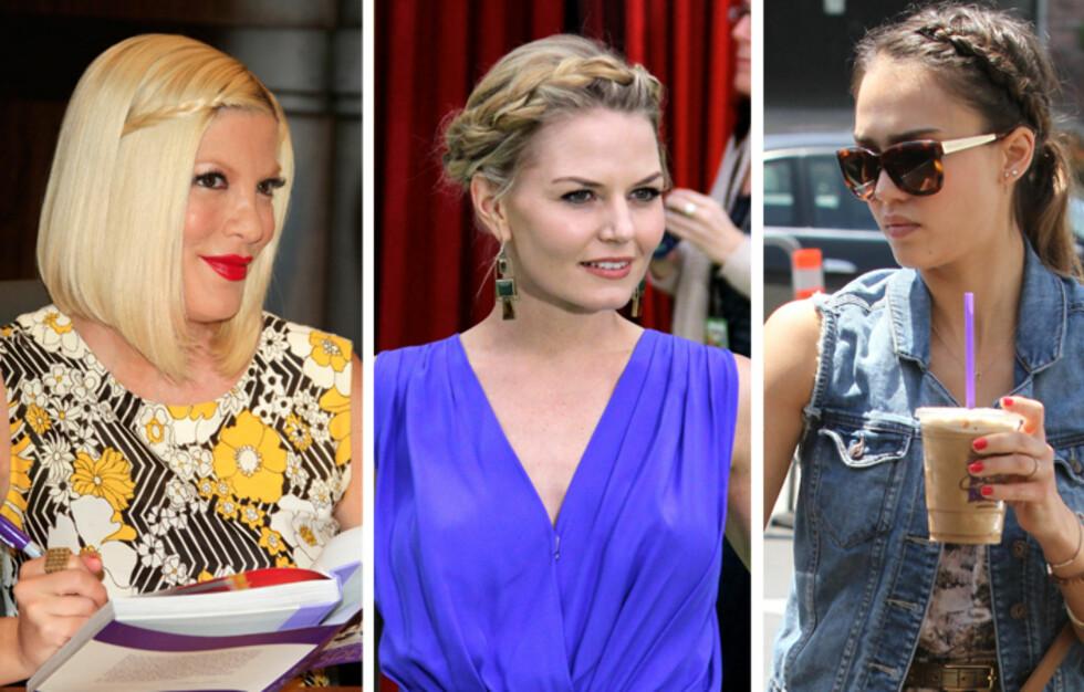 VEKK MED LUGGEN: Tori Spelling, Jennifer Morrison og Jessica Alba får håret vekk fra ansiktet med nydelige fletter. Vel verdt et forsøk i sommervarmen.  Foto: All Over Press