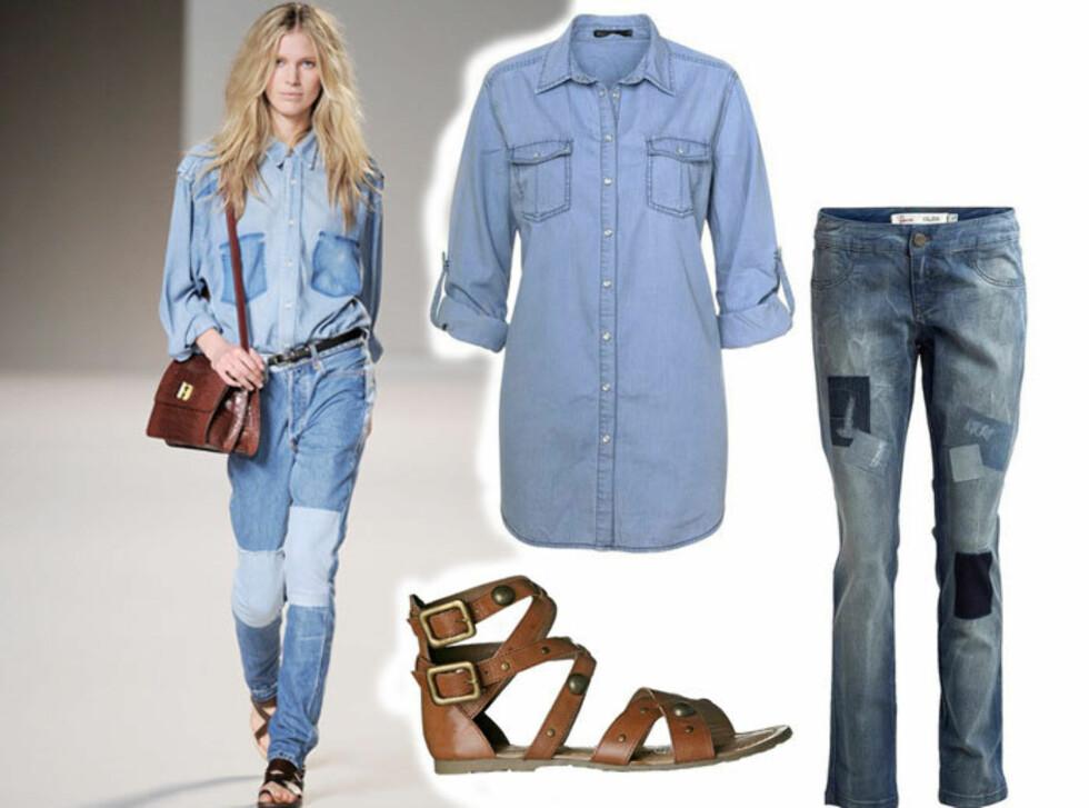 STJEL STILEN: Akkurat som Chloé, bare litt billigere: Jeans og skjorte (kr 400 per stykk, Kappahl) og gladiatorsandaler (kr 450, Dinsko).