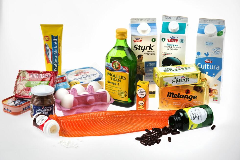 SPIS DETTE: Den beste måten å få i seg nok vitamin D er gjennom mat. Typiske matprodukter med mye D-Vitamin er laks, tran, smør, egg og melk.  Foto:  MAGNAR KIRKNES/VG