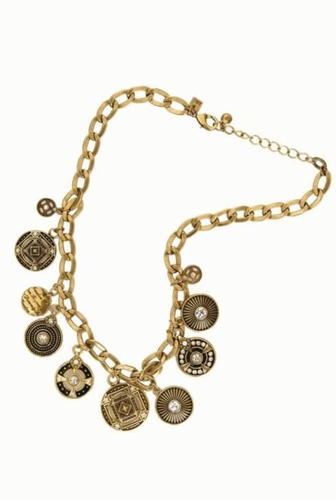 VEKKER OPPSIKT: Smykke  Gullfarget kjede med medaljonger (kr 500, Arts & Crafts).