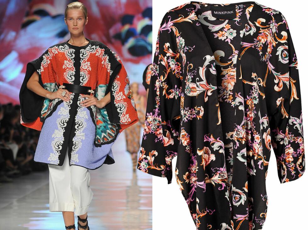 På catwalken til Etro er det asiatisk-inspirerte kimonoer som gjelder. Den til høyre er i svart florlett silke (kr 995, Minkpink/Nelly.com). Foto: All Over Press/Produsenter