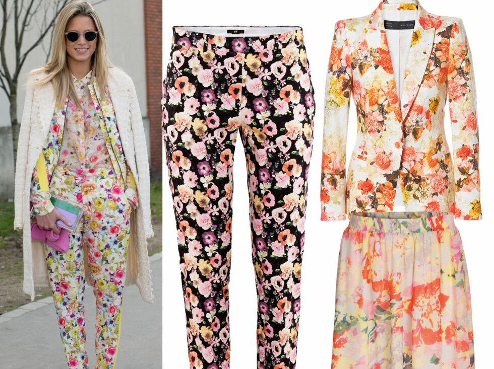 På lik linje med mange designere går stilikon Helena Bordon for blomster fra topp til tå denne våren. I midten smale blomstrete bukser (kr 200, H&M), blazer (kr 800, Zara) og skjørt (kr 500, Mexx).  Foto: All Over Press/Produsenter