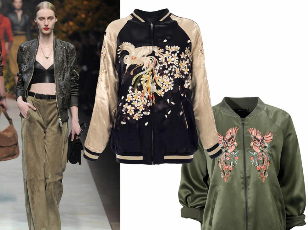Vårens mest moderne jakke er inspirert av 90-tallet, som vi ser her hos designeren Loewe. I midten med fugleprint (kr 1100, Zara) og i olivengrønt (kr 500, Gina Tricot).  Foto: All Over Press