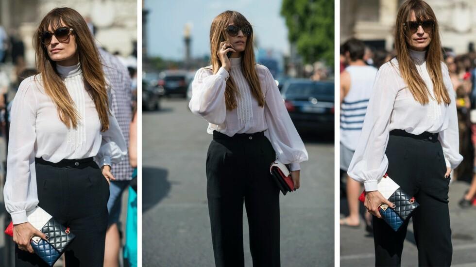 STJEL STILEN: Den franske it-jenta Caroline de Maigret i et elegant antrekk under Couture Fashion Week. Foto: Scanpix